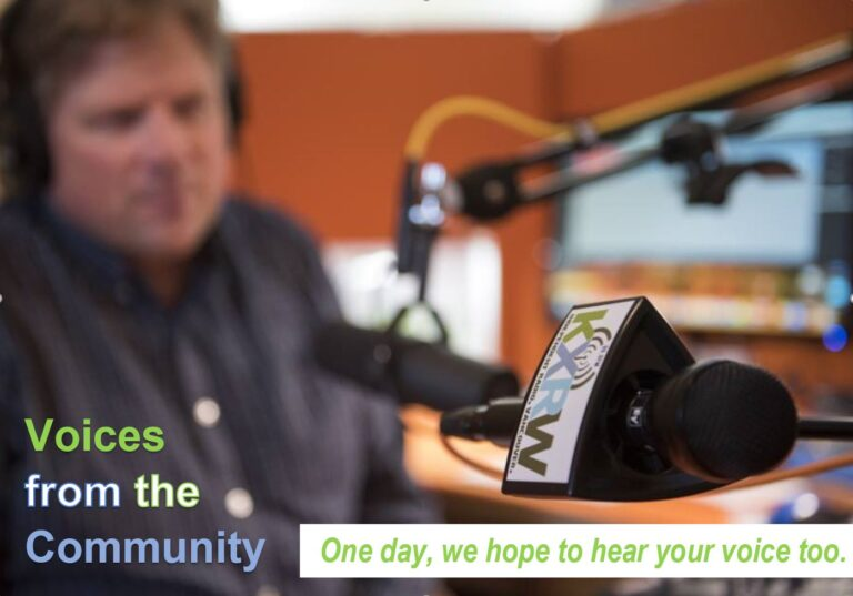 voices from community banner photo in studio