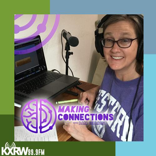 Barb Seaman at mic recording for KXRW