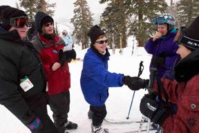 people talking while skiing