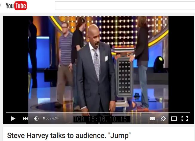 Steve Harvey talks to audience.