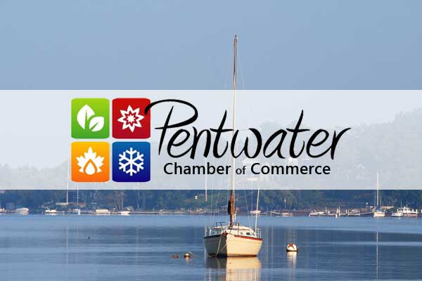 pentwater chamber of commerce badge and logo
