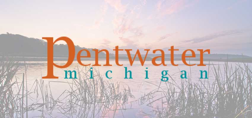 pentwatermichigan.com logo with pentwater lake background