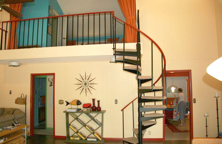 vintage family getaway staircase pentwater michigan