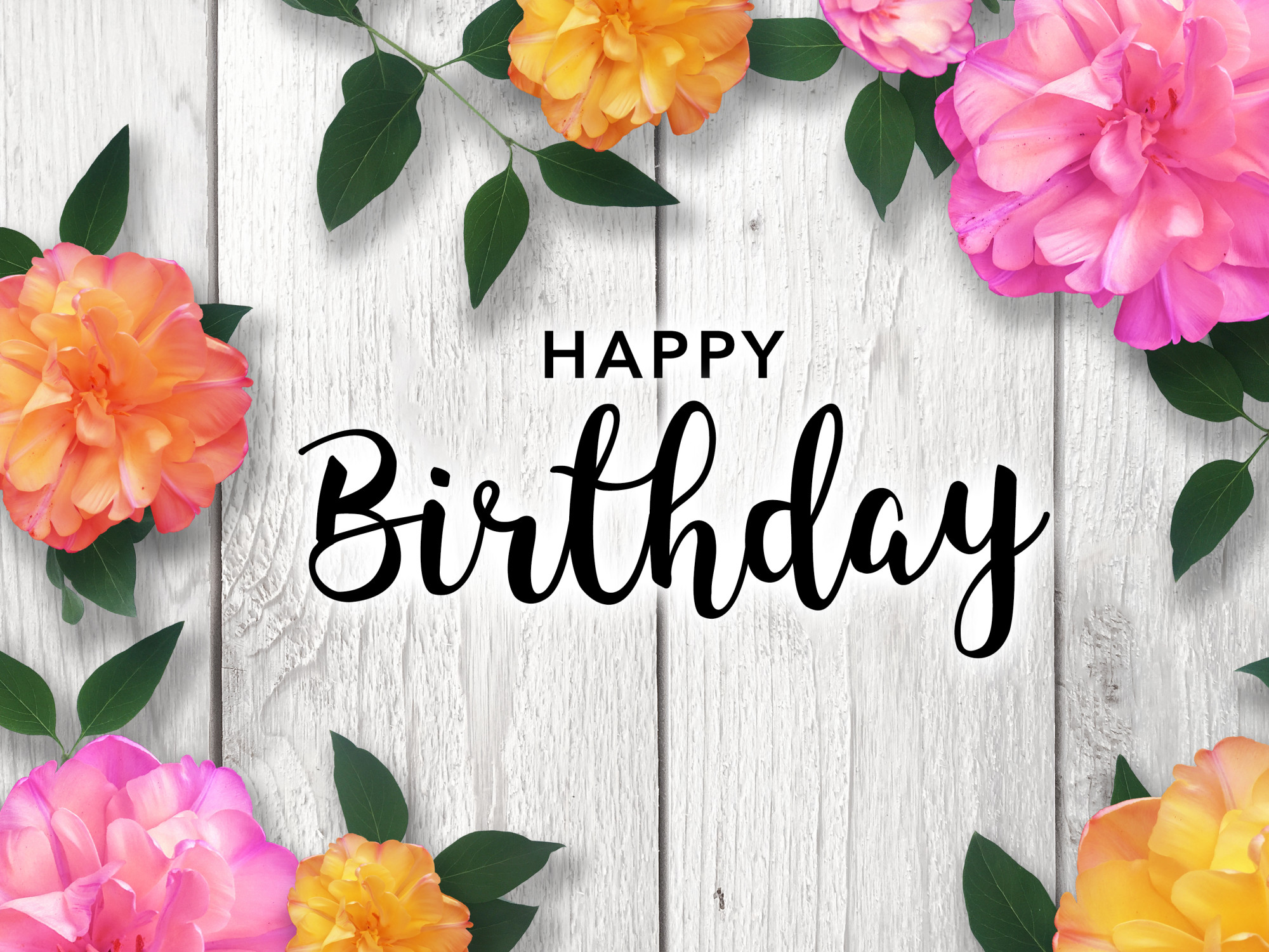 Happy Birthday Card with Colorful Flower Border