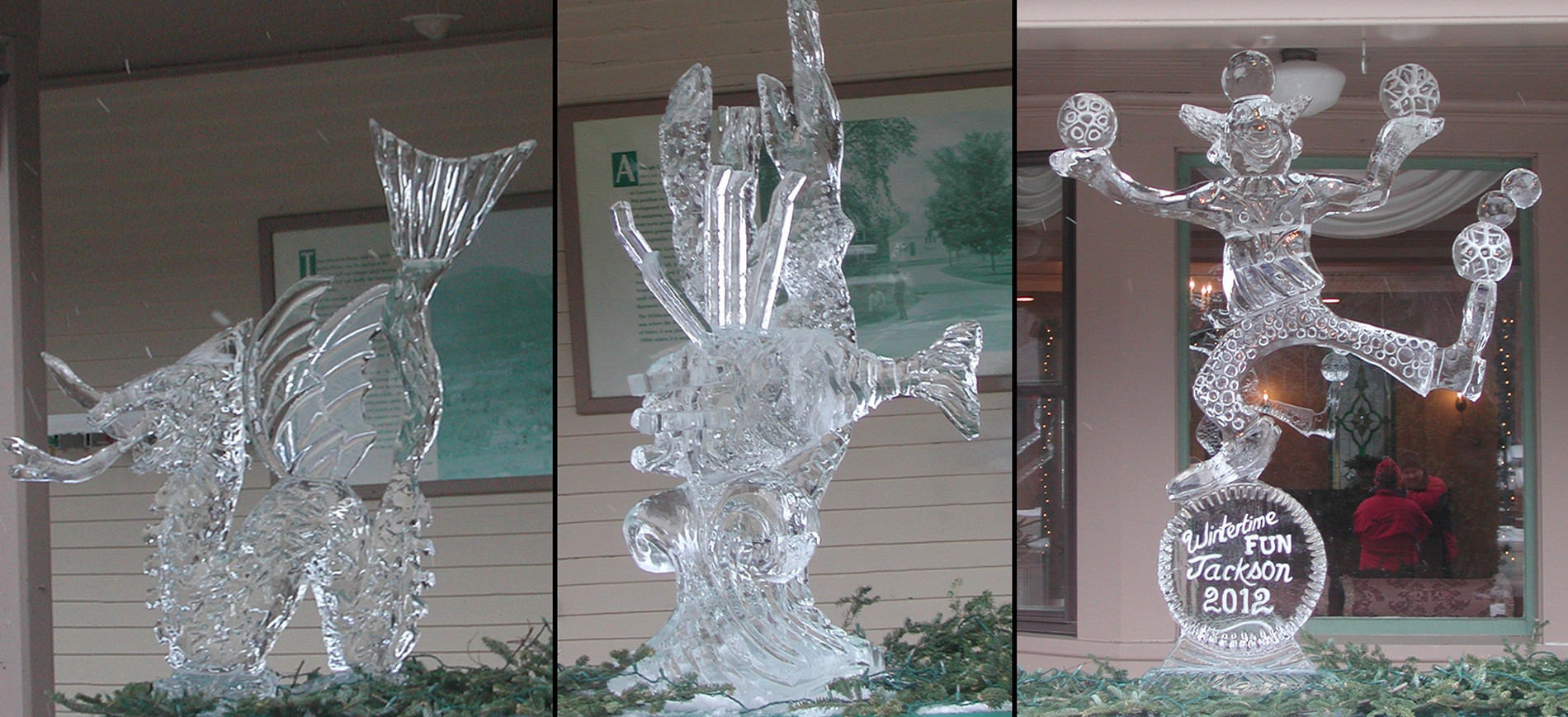 Three ice sculptures on covered porch