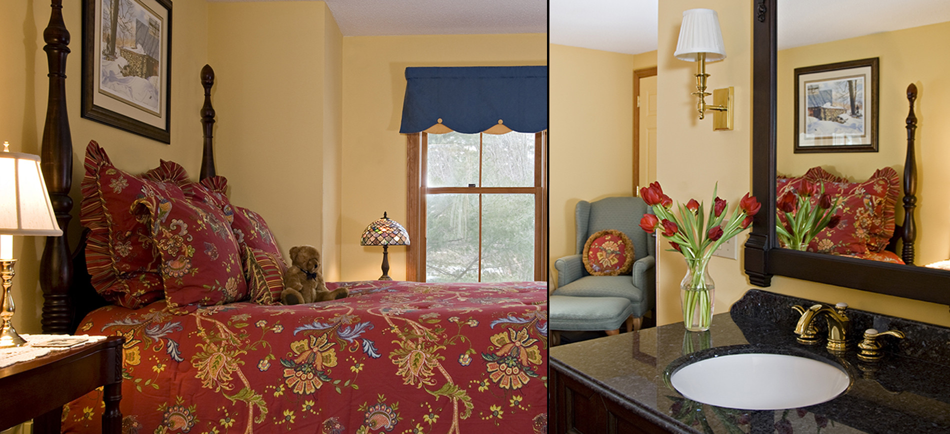 Gold guest room with queen bed with red & gold bedding, window with blue valence, green wing chair with ottoman, sink with mirror and lights above
