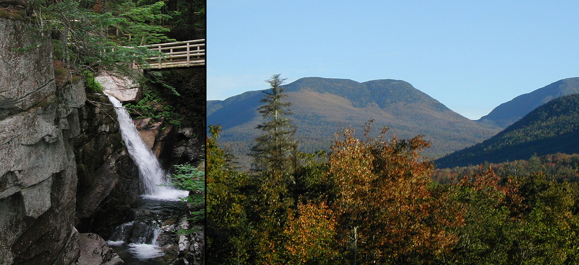 Sabbaday Falls waterfall on left with wood walkway, view of White Mountains from Crawford Notch
