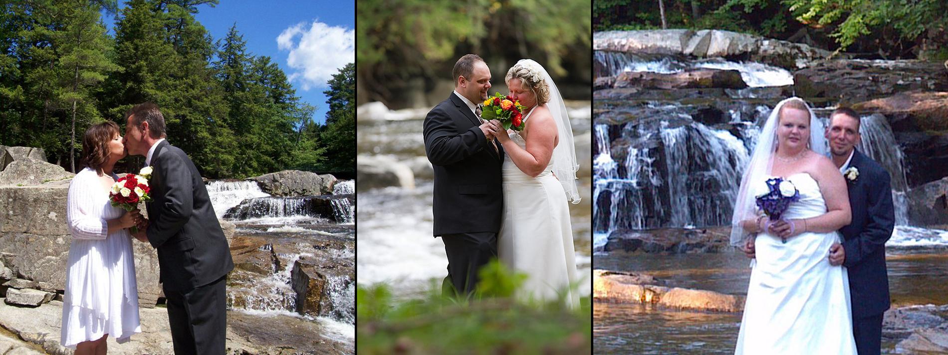 Collage of bride & groom at Jackson Falls, bride & groom on covered bridge, bride & groom standing with Jackson Falls behind