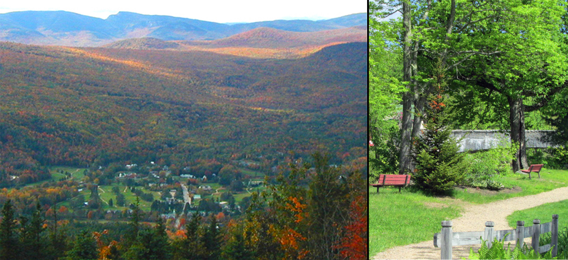 Overview of Jackson NH on left, walking path with benches on right