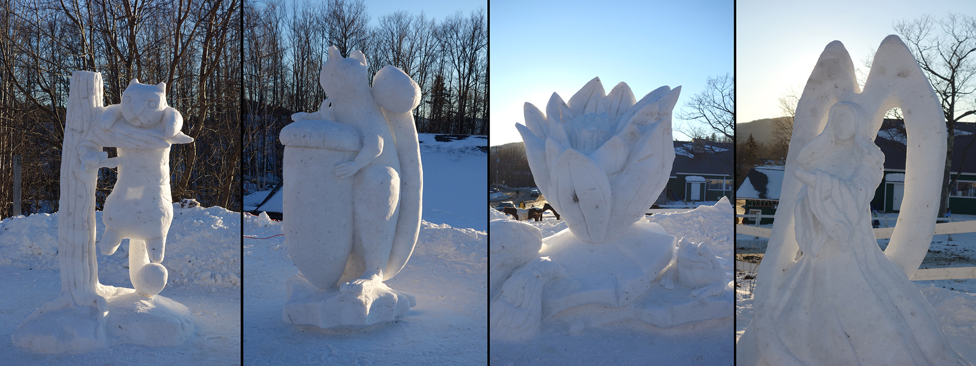 Collage of four snow sculptures 2013