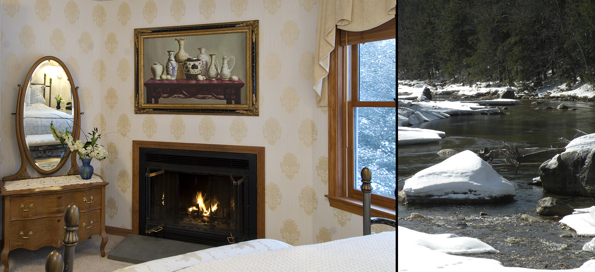 Guest room with dresser, fireplace with picture abobe, queen bed with ivory bedding, window with gold valance, image on right is snow on rocks of Ellis River