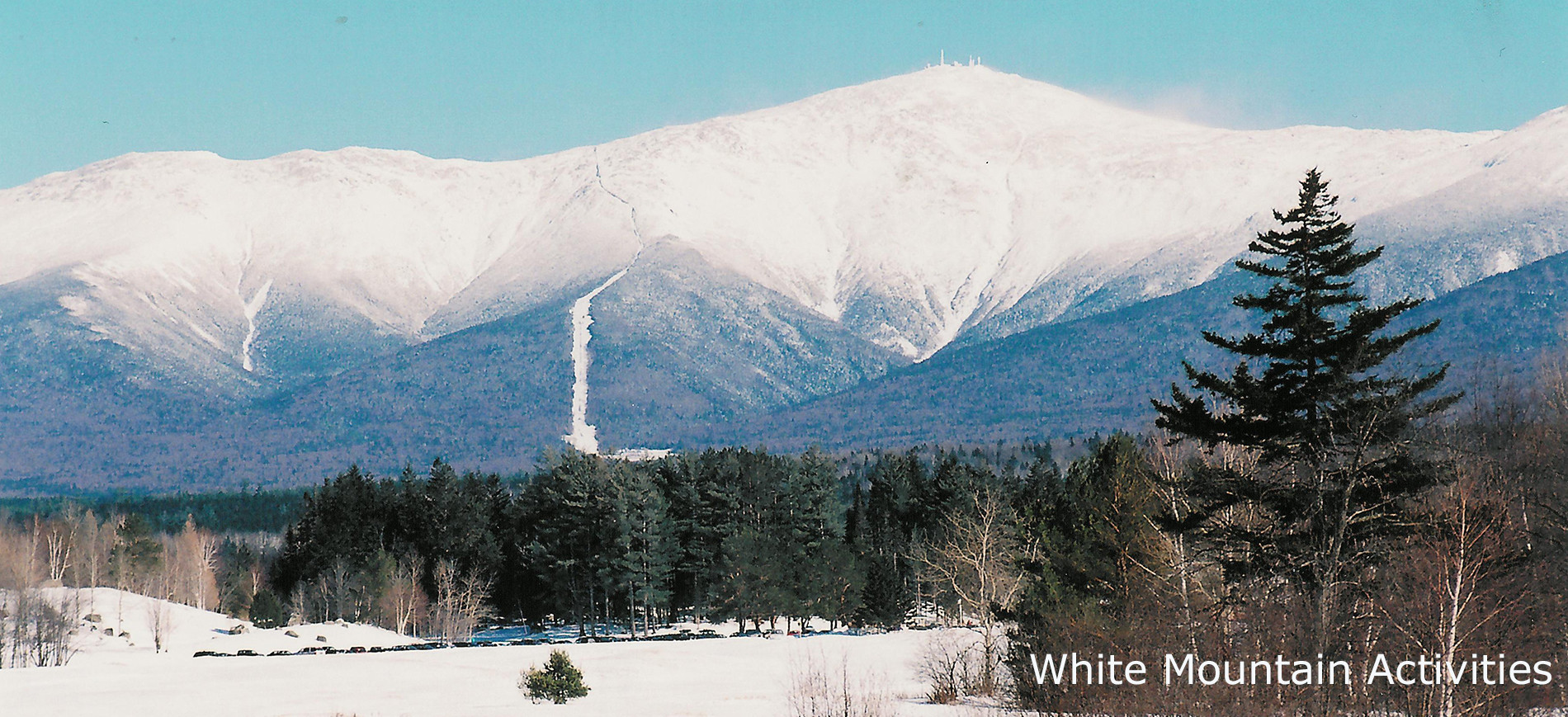 Mount Washington in snow from Bretton Woods ~ White Mountain Activities