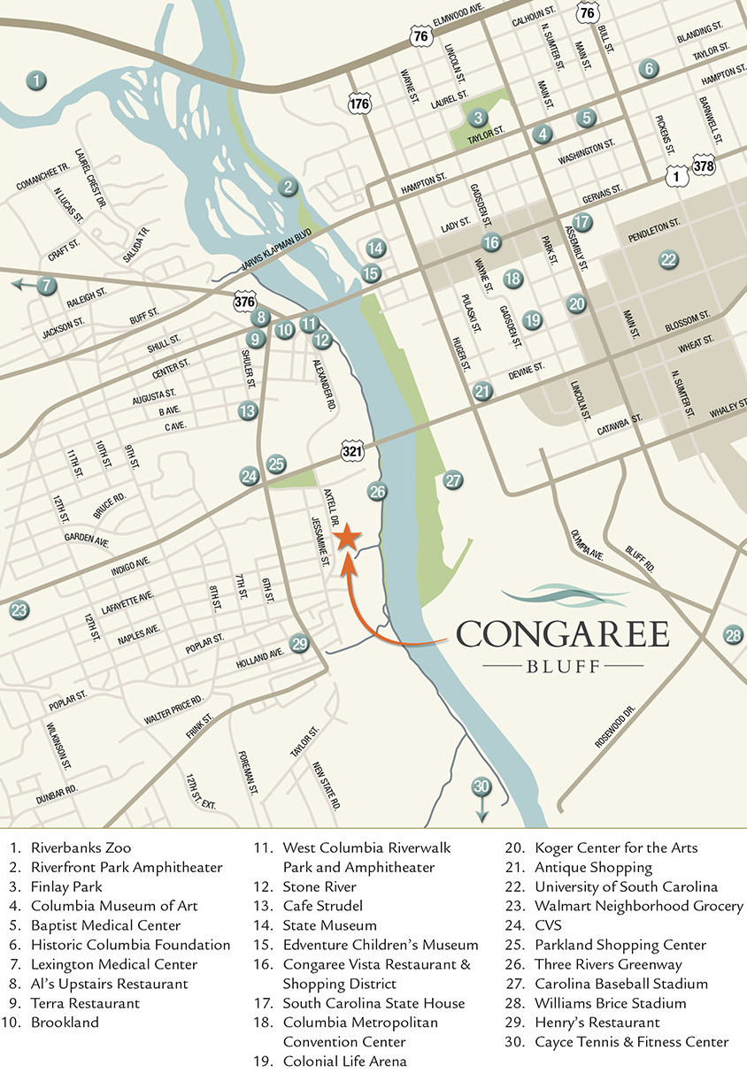 Congaree Bluff Area Map