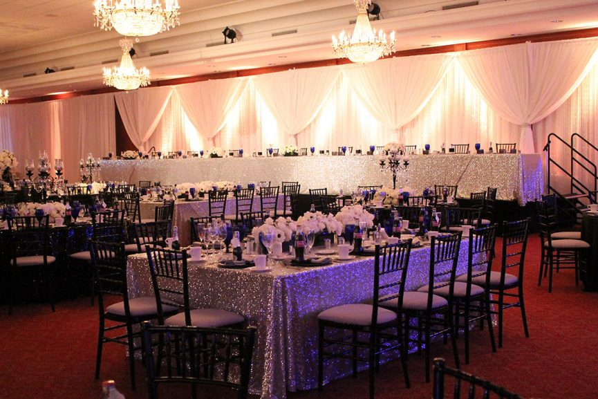 Reception hall set up for a wedding