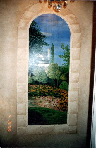Old World - Monet inspired window mural with faux stone