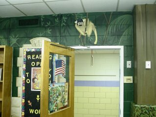 Kids Mural - Monkey in Amazon Mural in School Library