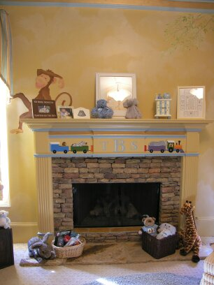 Kids Mural - Monkey and Kids Train on Fireplace in Nursery
