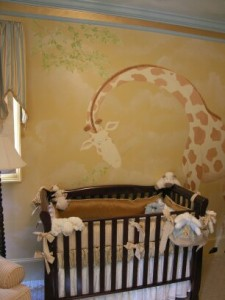 Kids Mural - Giraffe Looking over Crib in Nursery