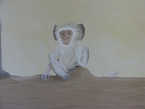 Kids Mural - Baby Monkey in Serengeti Nursery