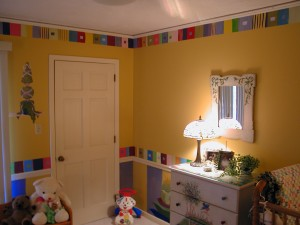 Kids Mural of color blocks in nursery