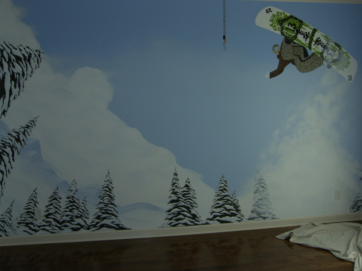 Kids Mural - Snowboarder and trees
