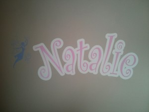 Kids Mural - Name and Fairy over Nursery crib
