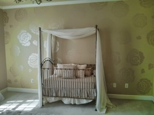 Kids Mural - Metallic Nursery with flowers
