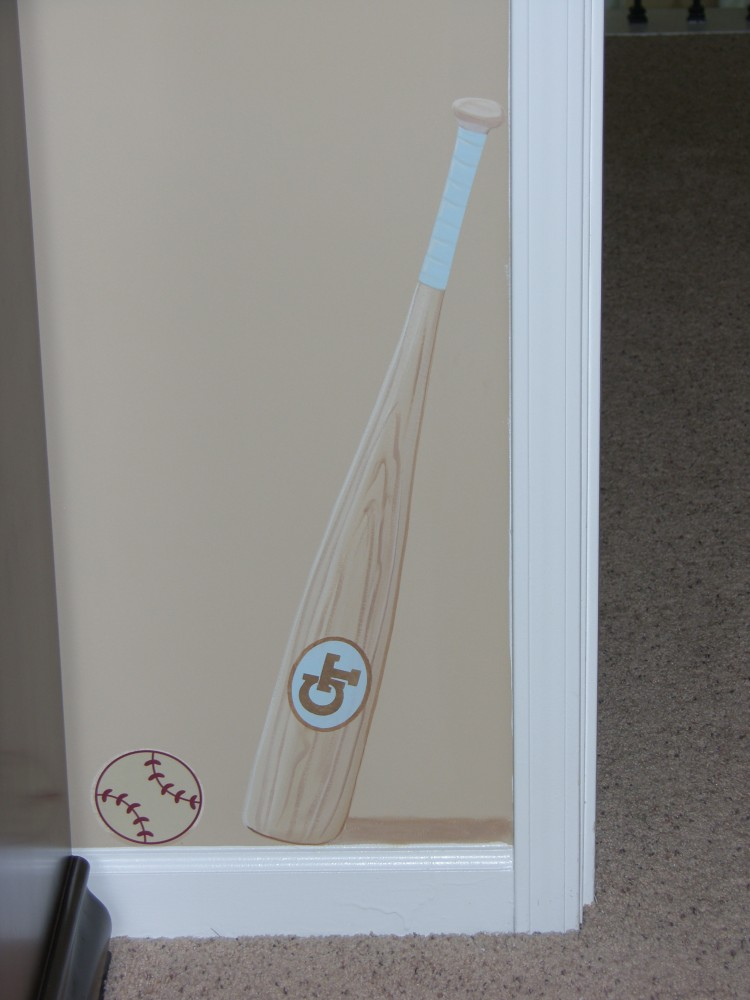 Faux Wood Bat for Kids Mural