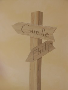 Faux wood sign for mural