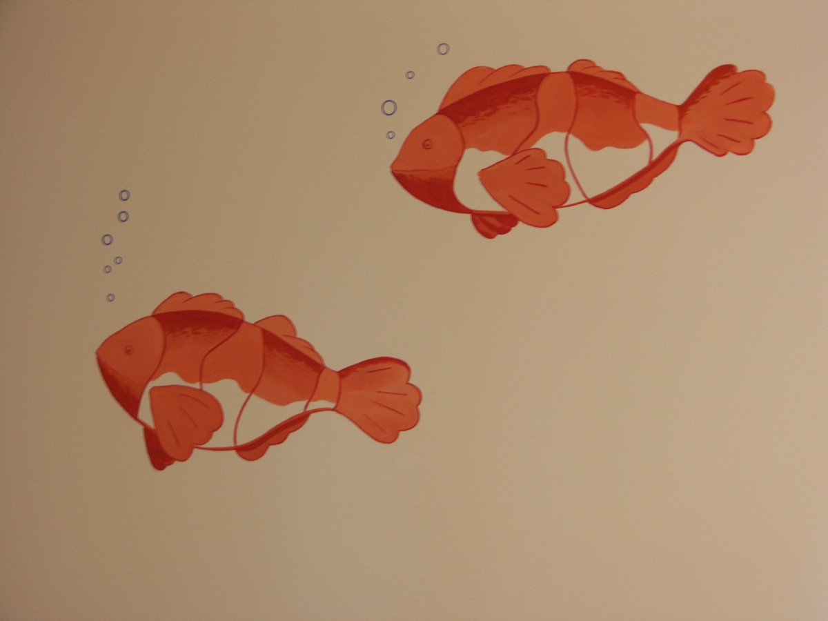 Kids Mural - Stylized Fish for Baby Nursery