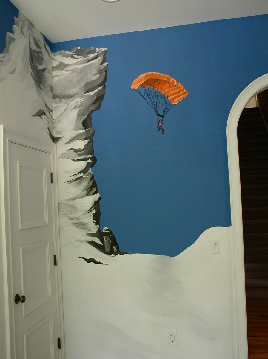 Kids Mural - Skydiver - Parachute - Base Jumper