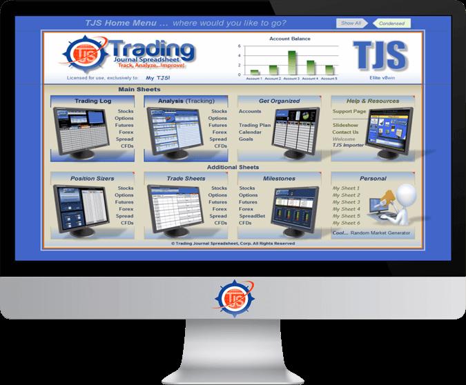 Monitor Image Of The TJS Elite Trading Journal Spreadsheet Home Menu V8 Version, In Condensed Mode