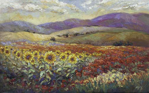 Field of Sunshine III new 30x48 palette knife oil painting Niki Gulley sunflowers poppies