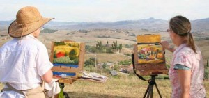 Niki & Terri painting Tuscany edit 2