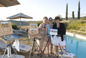girls paintings by pool Tuscany art trek