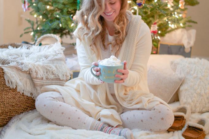 old navy thermal top, old navy thermal leggings, christmas pajamas, evy's tree wrap sweater, j.crew slippers, swoozies rise and shine mug, fair isle socks