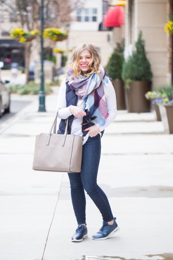 J.Crew Excursion Down Vest, Bp. Long Sleeve Tunic, Ivanka Trump Soho Work Solutions Portable Charger Leather Tote, Nike Airmax Thea SE Sneaker, Winter Weekend Style, Puffer Vest