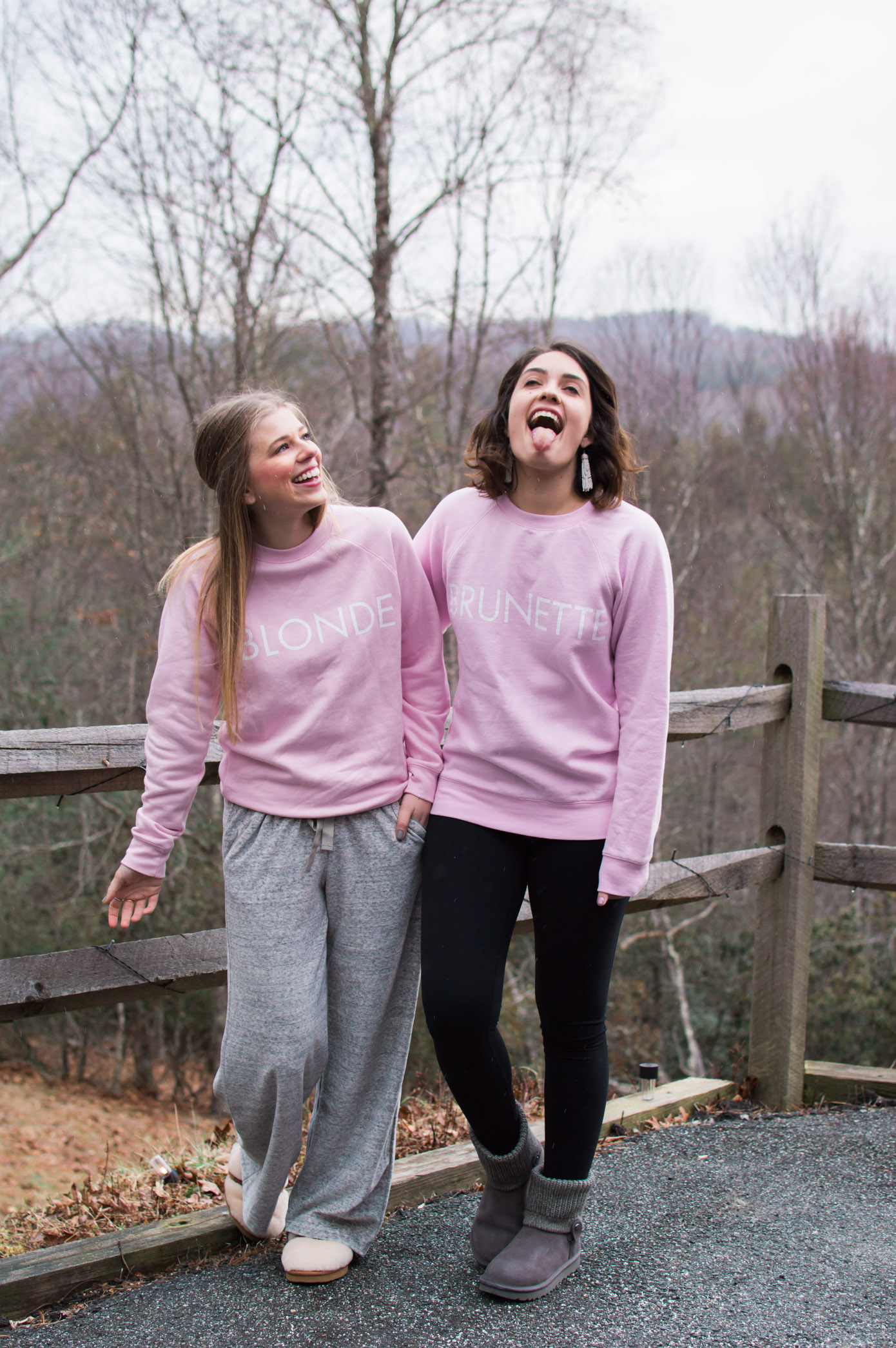 Mountain Weekend Essentials | Blonde and Brunette Sweatshirts | Louella Reese Life & Style Blog