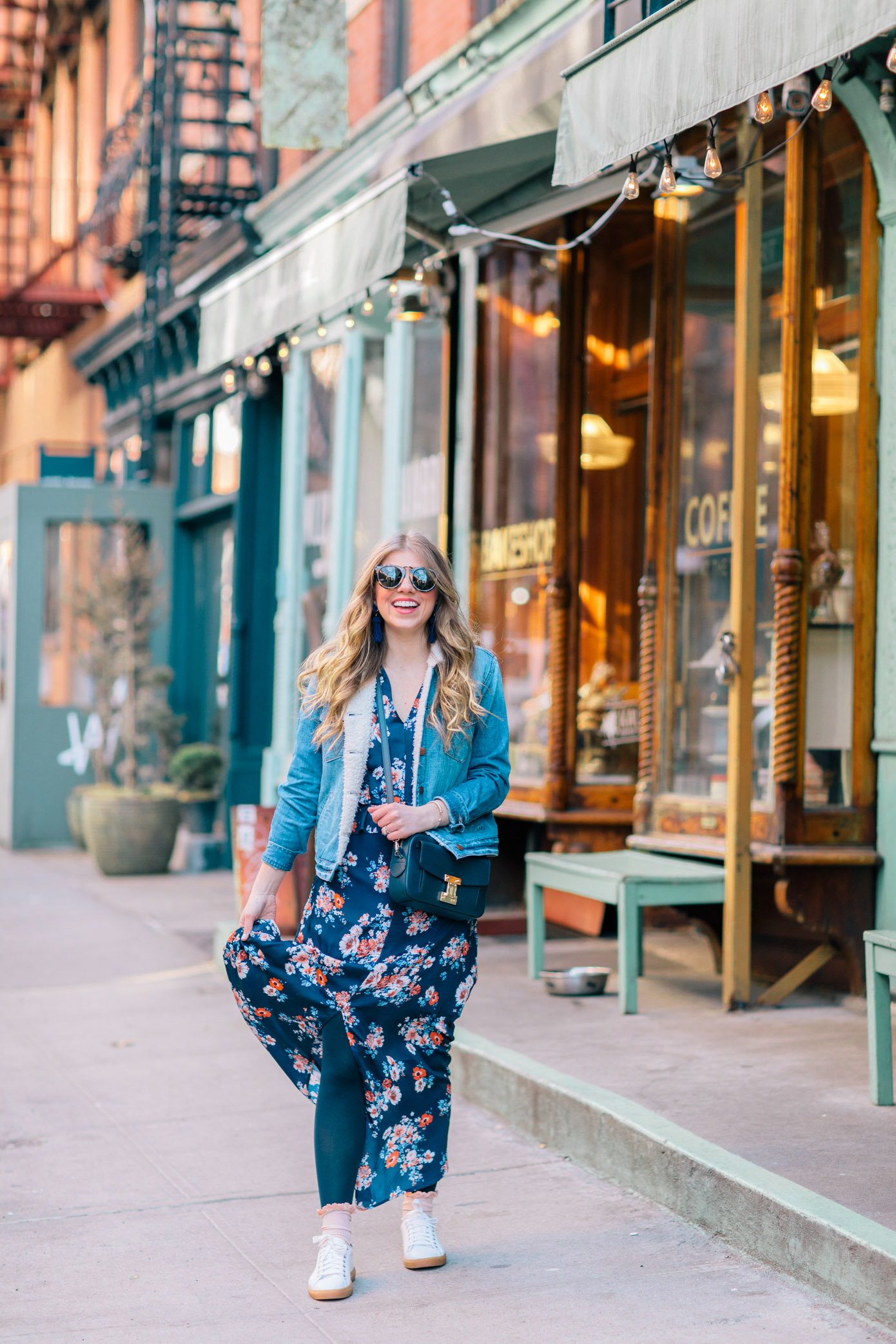 How to Wear Your Spring Dresses Now | Navy Floral Maxi Dress | Louella Reese Life & Style Blog