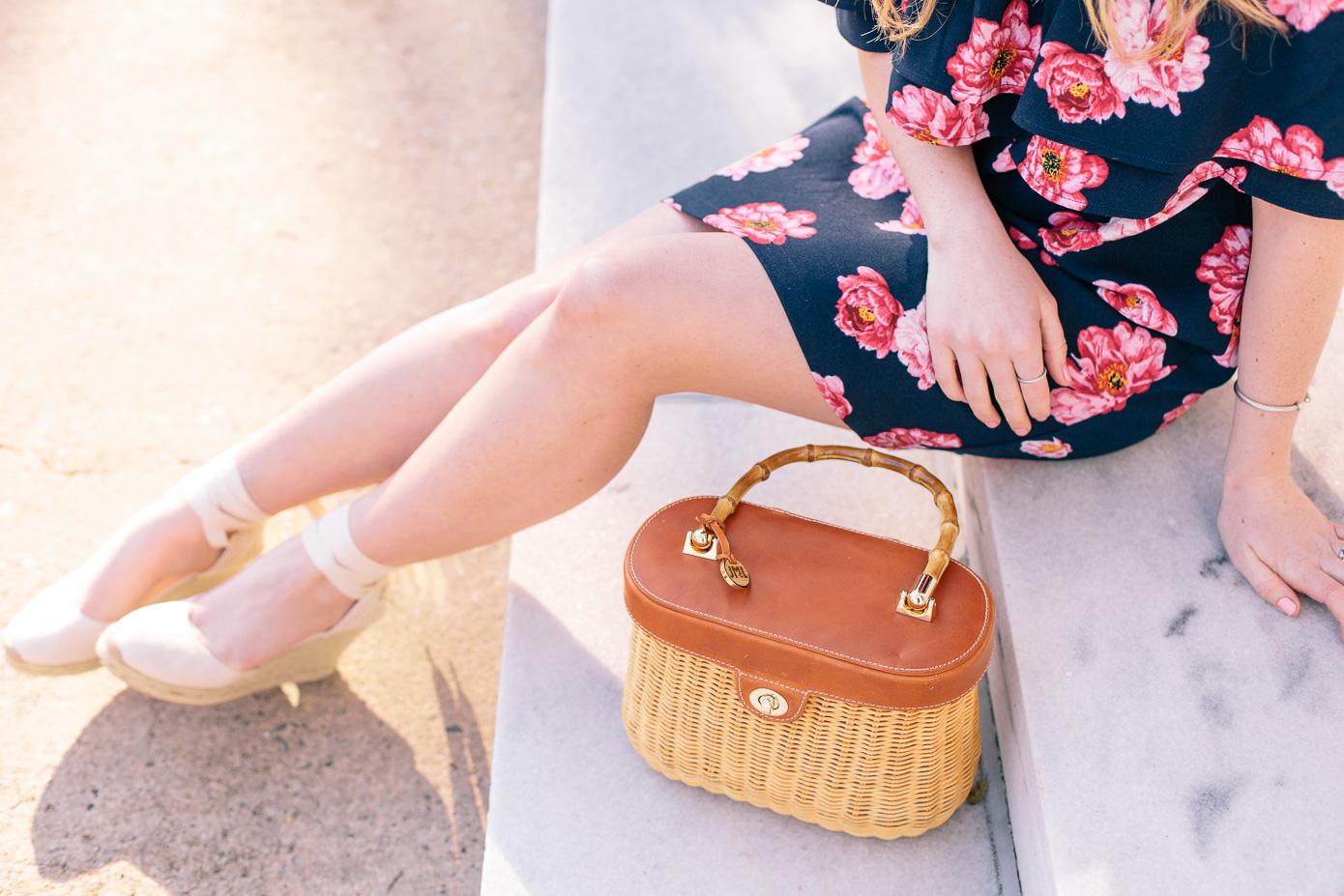 Navy and Pink Floral Off the Shoulder Dress + Basket Bag | Louella Reese Life & Style Blog