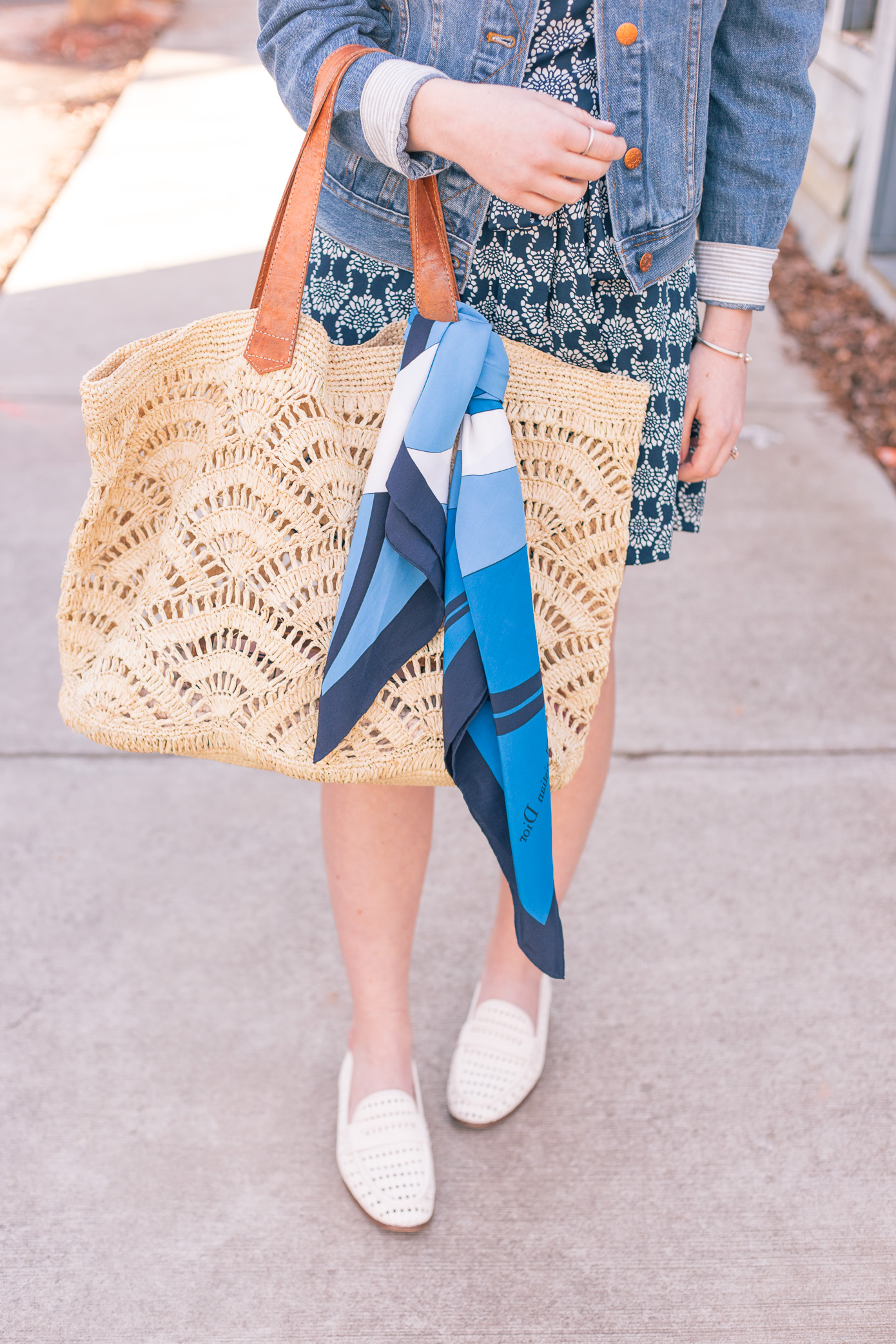 Casual Knit Dress for Spring + Oversized Straw Tote | Louella Reese Life & Style Blog