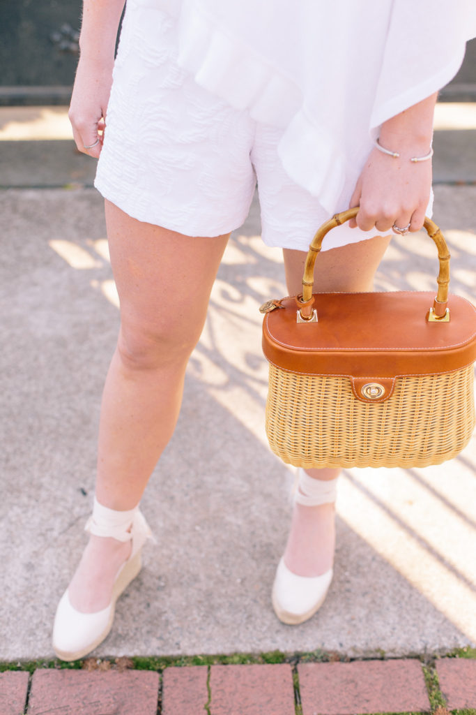 Bridal Shower White Romper + Basket Bag | Louella Reese Life & Style Blog