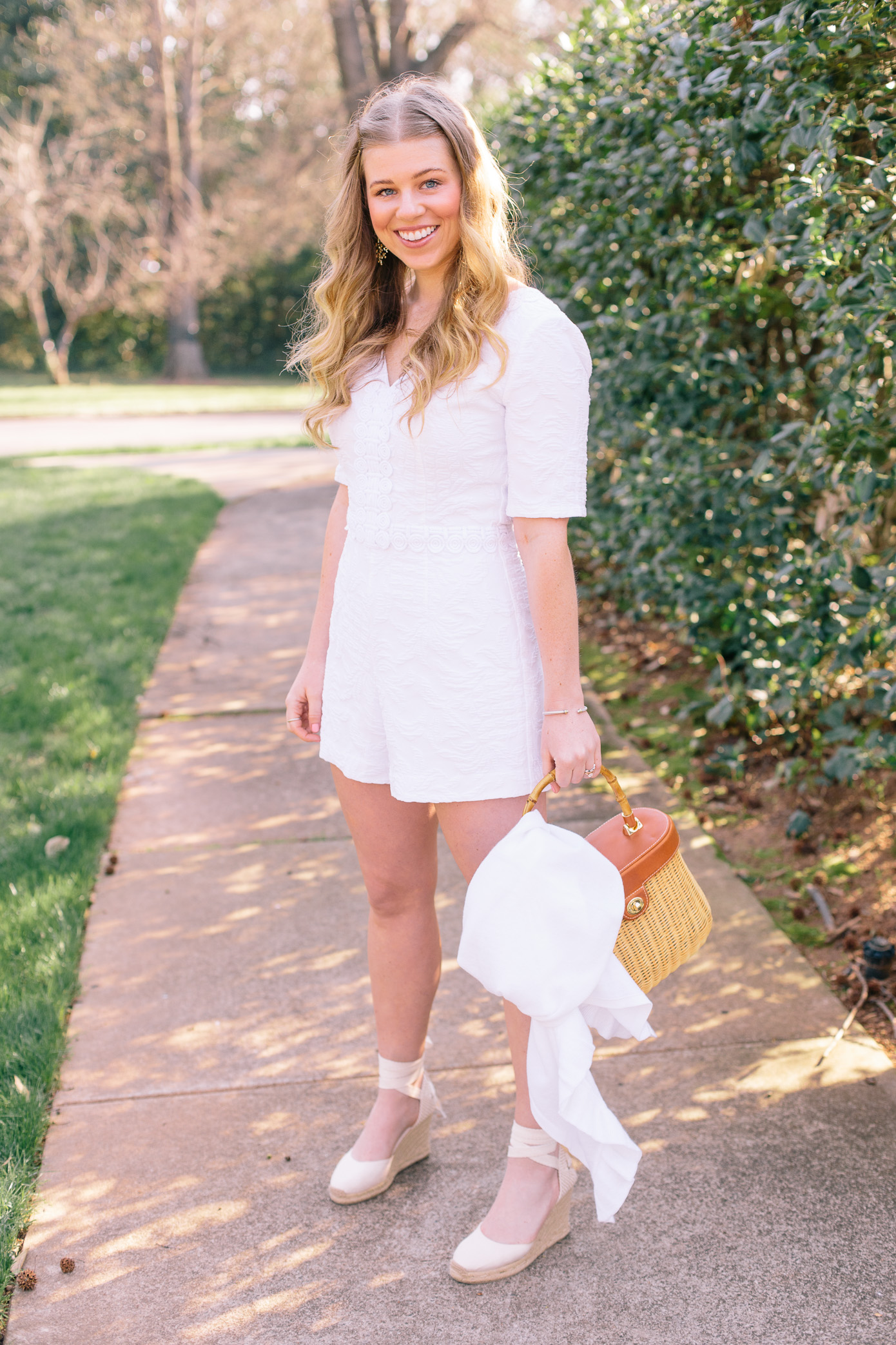White Lace Romper for Engagement Party | Louella Reese Life & Style Blog