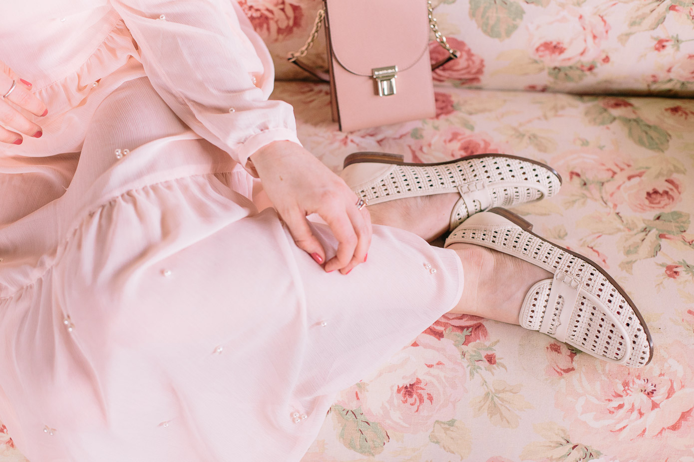 Pearl Embellished Blush Midi Dress | Ivory Loafers, Pink Mini Handbag | Louella Reese Life & Style Blog