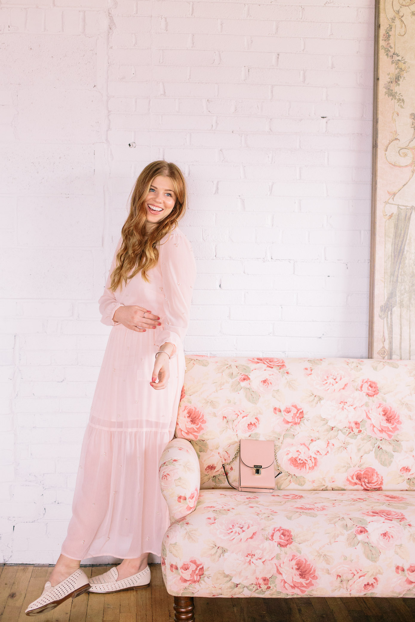 Pearl Embellished Blush Midi Dress | Louella Reese Life & Style Blog