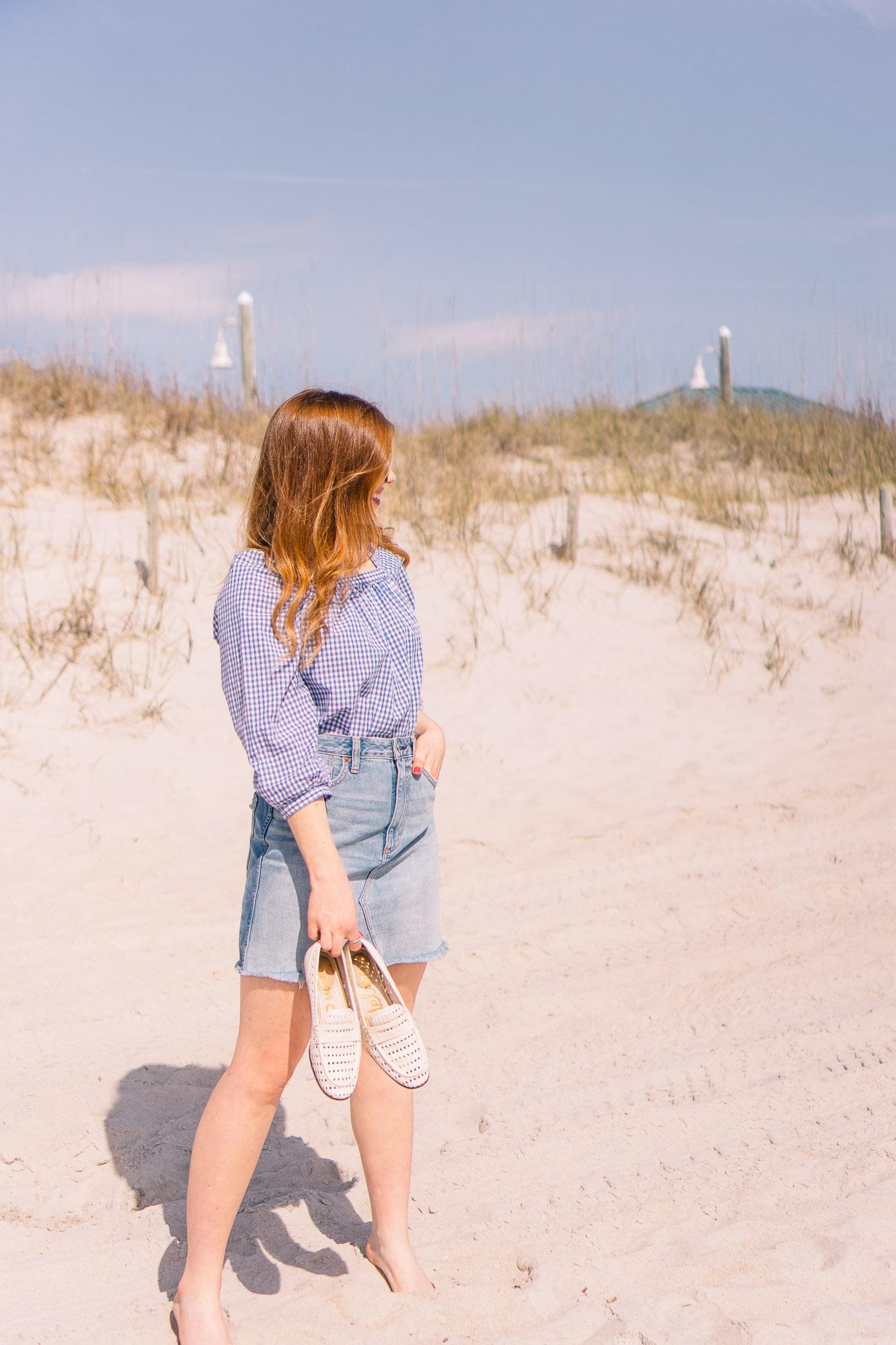 Denim Skirt under $60   Gingham Blouse for Spring   Louella Reese Life & Style Blog