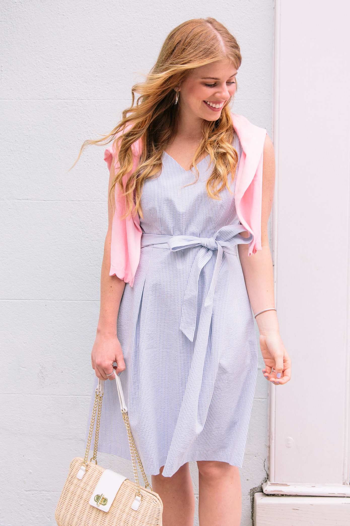 Seersucker Fit and Flare Dress, Millennial Pink Sweater | Talbots Friends & Family Event | Louella Reese Life & Style Blog