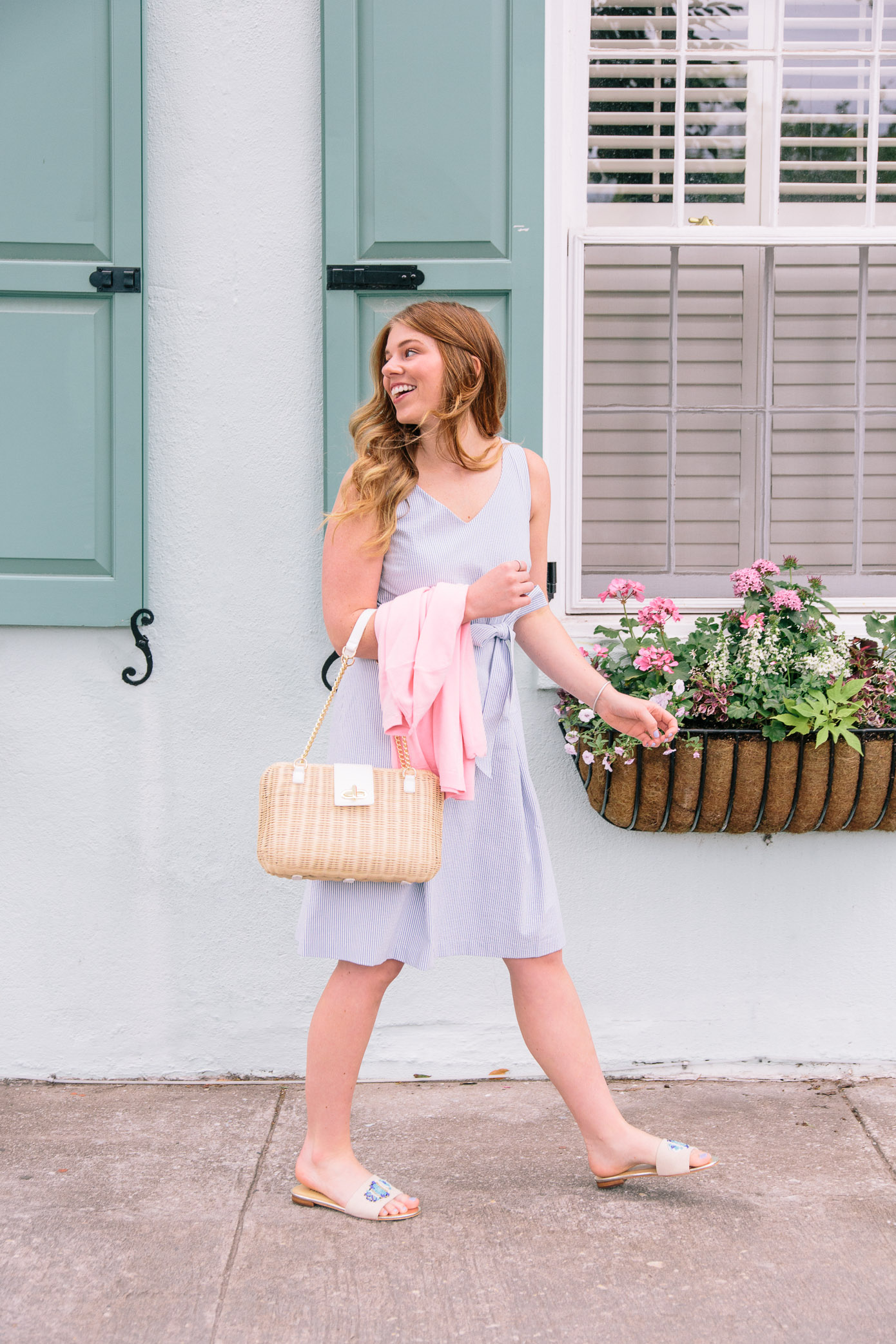 Seersucker Fit and Flare Dress | Talbots Friends & Family Event | Louella Reese Life & Style Blog