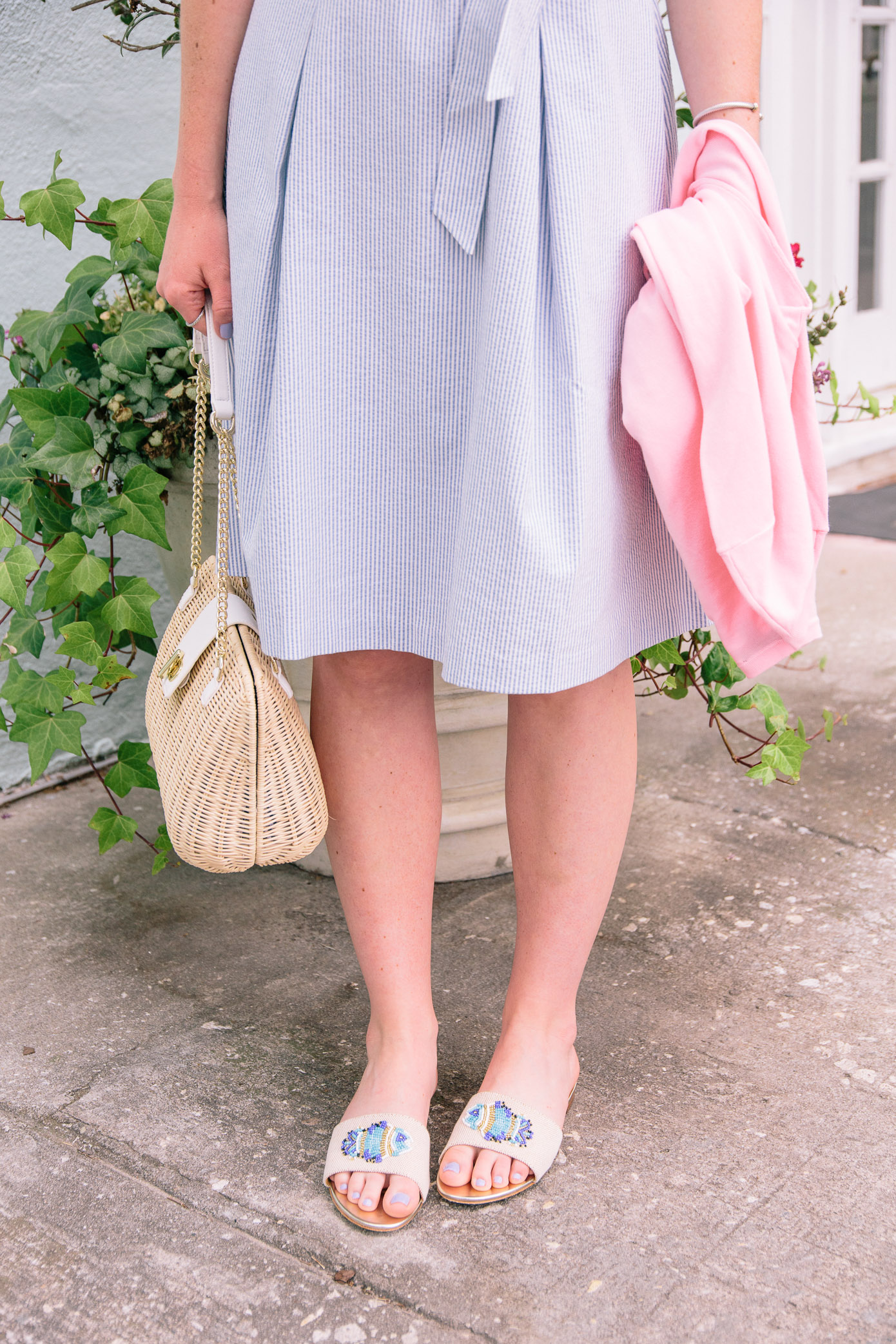 Seersucker Fit and Flare Dress, Millennial Pink Sweater, Beaded Fish Sandals | Talbots Friends & Family Event | Louella Reese Life & Style Blog