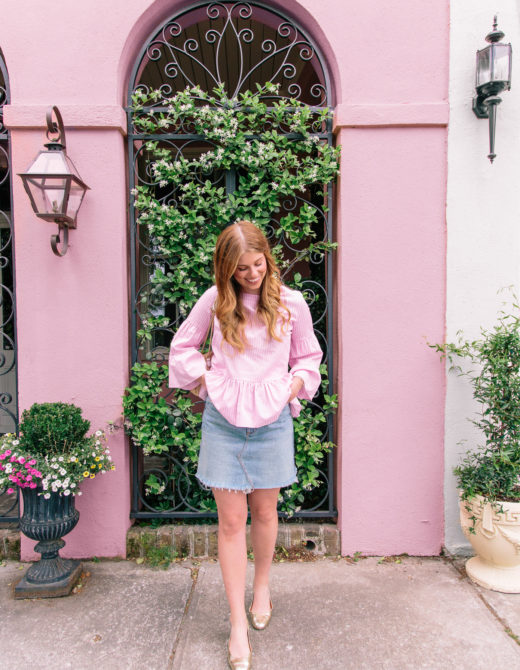 Pink and White Stripe Bell Sleeve Blouse | Summer Brunch Outfit Idea | Louella Reese Life & Style Blog